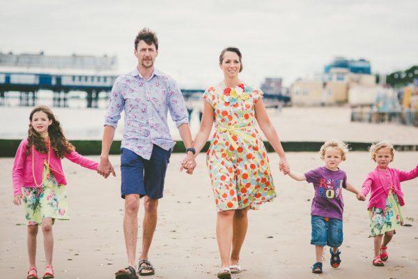 Family on Cleethorpes beach